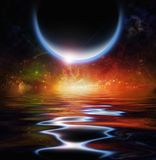 Waters reflection and Planets. Black planet rises over vivid starry horizon and reflects in the water surface vector illustration
