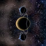 Waters reflection and Planets. Bright stars in deep space royalty free illustration