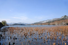 The waters and skies merge in one colour. Hangzhou, Zhejiang, China,Snow after West Lake Royalty Free Stock Photos