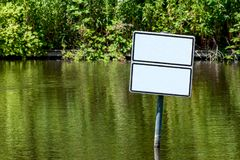 Waters with two empty white signs Royalty Free Stock Images