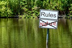 Waters with two signs with labeling Royalty Free Stock Photo