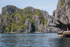 Waterscape El Nido, Bacuit fjärd, Palawan ö, Palawan landskap, Filippinerna Royaltyfria Foton
