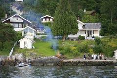Waterscape på den Oslo fjorden, Oslo, Norge Royaltyfria Bilder