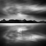 Waterscape with plants. Fine Art, Black and White, Long Exposure waterscape with plants and mountains stock photo