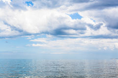Waterscape with white clouds and calm Azov Sea Stock Image