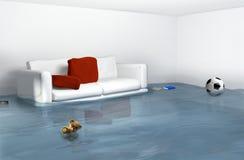 Waterschade toe te schrijven aan hoogwater in het huis stock illustratie