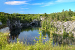 Watersealed Marble Canyon in Karelia. Royalty Free Stock Photography