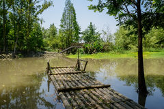 Waterside bamboo-made raft in sunny summer Stock Images
