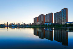 Waterside buildings landscape daqing Stock Photos