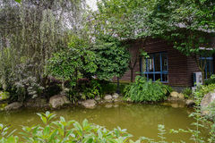 Waterside house in verdant summer Stock Image