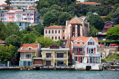 Waterside Houses Along The Bosphorus Strait Stock Photography