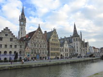 Waterside houses in Belgian city Royalty Free Stock Photography