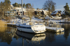 Waterside houses wintertime Royalty Free Stock Image