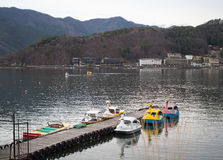 Waterside at Kawaguchi lake, Japan. Landscape Waterside at Kawaguchi lake in evening , Japan stock image