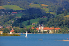 Waterside lake tegernsee, with castle, germany Stock Photo