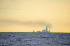 Waterside power plant air pollution Stock Photography