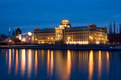 Waterside Prague. Lit-up building on the waterside in Prague Stock Photo