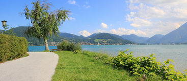 Waterside promenade of lake tegernsee Stock Photography
