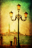 Waterside promenade in Venice with vintage style texture Stock Photos