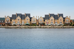 Waterside Properties. Quayside development on river in England Royalty Free Stock Photography