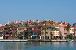 Waterside properties. A row of colourful spanish waterside properties Royalty Free Stock Images