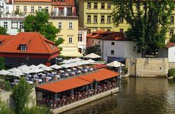 Waterside Restaurant, Prague. Royalty Free Stock Photography