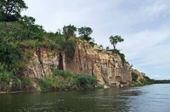 Waterside Victoria Nile scenery in Uganda Stock Photography