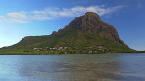 Waterside view of Le Morne Brabant, Mauritius stock video footage