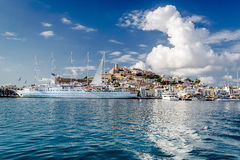 Waterside view to the Dalt Vila old town Stock Image