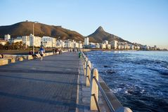 waterside walkway and seaview at Camps bay royalty free stock photos
