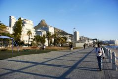 waterside walkway and seaview at Camps bay stock photo