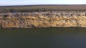 Waterski Grote Kromming op Rivier Murray dichtbij Nildottie stock footage