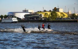 Waterski Show, Harbor Anniversary St. Pauli-Landungsbrucken royalty free stock photo