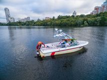 Waterskiing boat on river Royalty Free Stock Photo