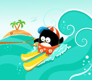 Waterskiing Penguin Royalty Free Stock Image