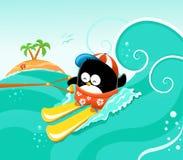 Waterskiing pingwin ilustracji
