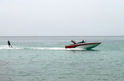 Waterskiing during the summer on the sea Stock Image