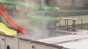 Waterslide  outdoor with thermal water stock video footage