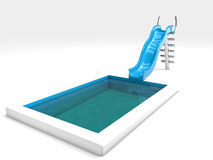 Waterslide and swimming pool. 3d rendered waterslide and swimming pool, isolated on white Royalty Free Stock Photo