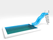Waterslide and swimming pool. 3d rendered waterslide and swimming pool,  on white Stock Images