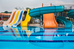 Waterslides and pool Royalty Free Stock Photography