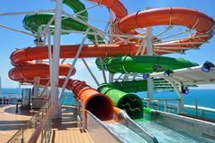 Waterslides on sports deck, Royal Caribbean. Waterslides onboard Liberty of the Seas cruise ship, Royal Caribbean International cruise line stock photography