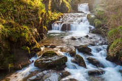 Watersmeet Devon England. Watersmeet Falls, where the East Lyn River and Hoar Oak Water converge, Devon England UK royalty free stock photo