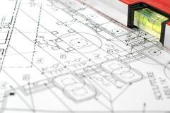 Waterspiegel en architecturale plannen royalty-vrije stock afbeelding