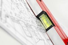 Waterspiegel en architecturale plannen royalty-vrije stock foto's
