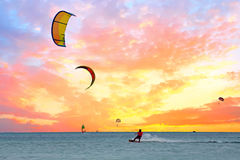 Watersport on Aruba island in the Caribbean Sea. At sunset Royalty Free Stock Photo