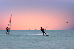 Watersport on the Caribbean Sea at Aruba island Stock Images