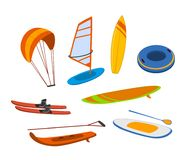 Free Watersport Items, Surfboards, Tubes, Windsurfing Water Ski Wakeboard Kite, Paddleboard Graphics Royalty Free Stock Images - 123552269