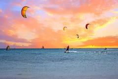 Watersport på den Aruba ön i det karibiska havet Royaltyfri Fotografi