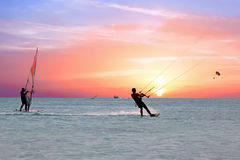 Watersport on theCaribbean Sea at Aruba island Royalty Free Stock Photography